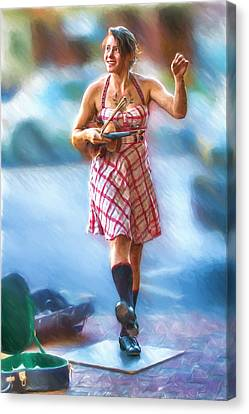 Tap Dancing With A Violin Canvas Print