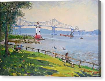 Tappan Zee Bridge And Light House Canvas Print by Ylli Haruni