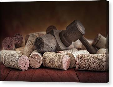 Tapped Out - Wine Tap With Corks Canvas Print