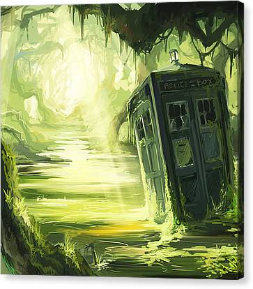 Tardis In The Swamp Canvas Print by Edi Suniarto