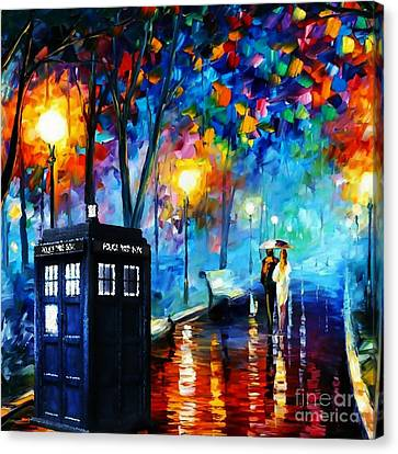 Tardis Starry Painting Canvas Print by Vika Chan