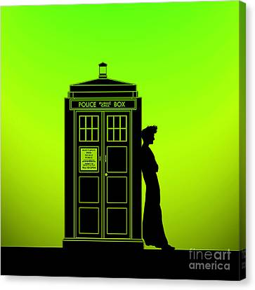 Tardis With The Tenth Doctor Canvas Print by Edi Suniarto