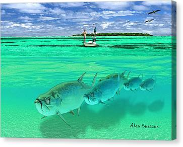 Tarpon Shot Canvas Print by Alex Suescun