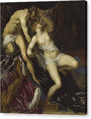 Tarquin And Lucretia Canvas Print by Tintoretto