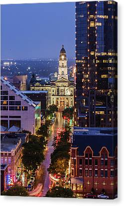 Tarrant County Courthouse Looking Down Main In The Canvas Print by Jeremy Woodhouse