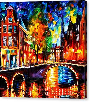 Starry Night Tardis Canvas Print by Edi Suniarto