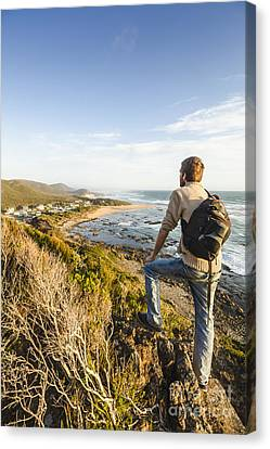 Observer Canvas Print - Tasmania Bushwalking Tourist by Jorgo Photography - Wall Art Gallery