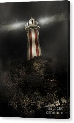 Tasmania Lighthouse In Rain Storm. Guiding Light Canvas Print by Jorgo Photography - Wall Art Gallery