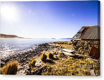 Tasmanian Boat Shed By The Ocean Canvas Print by Jorgo Photography - Wall Art Gallery