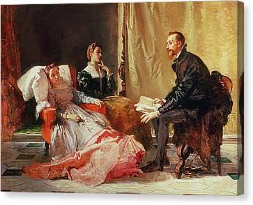 Tasso And Elenora Canvas Print by Domenico Morelli