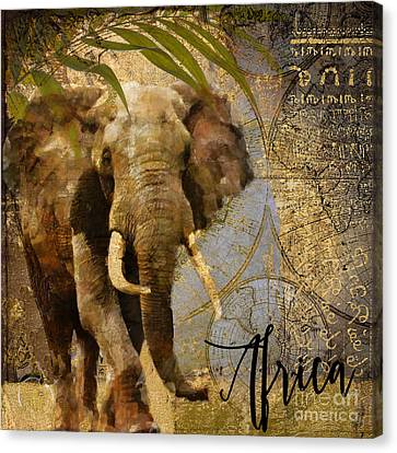 Taste Of Africa Elephant Canvas Print by Mindy Sommers
