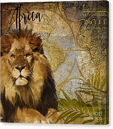 Taste Of Africa Lion Canvas Print by Mindy Sommers