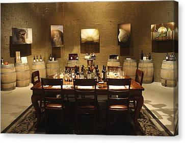 Tasting Room At Private Winery In Napa Canvas Print by Diane Leone