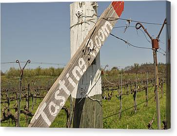 White Wine Canvas Print - Tasting Room Sign Post by Brandon Bourdages