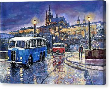 Tatra 85-91bus 1938 Praha Rnd Bus 1950 Prague Manesuv Bridge Canvas Print by Yuriy Shevchuk