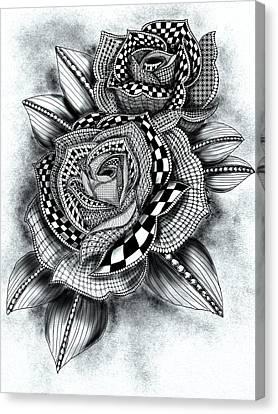 Tattoo Rose Greyscale Canvas Print by Becky Herrera