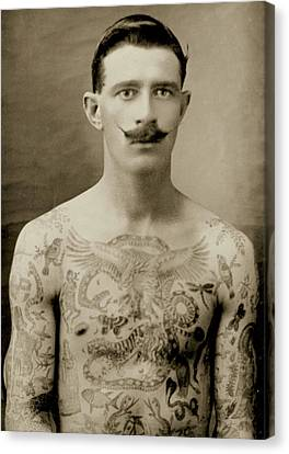 Half-length Canvas Print - Tattooed British Sailor During The First World War by English School
