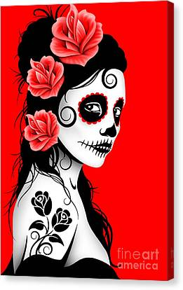 Tattooed Day Of The Dead Sugar Skull Girl Red Canvas Print by Jeff Bartels