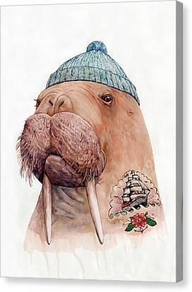 Sea Animals Canvas Print - Tattooed Walrus by Animal Crew