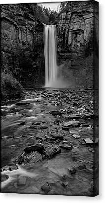 Taughannock Falls In Bw Canvas Print by Stephen Stookey