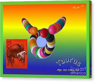 Canvas Print featuring the painting Taurus by The Art of Alice Terrill