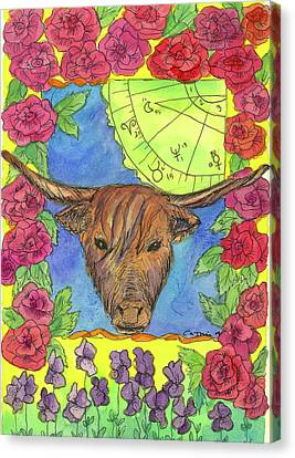 Canvas Print featuring the painting Taurus by Cathie Richardson
