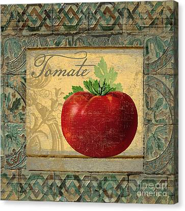 Tavolo, Italian Table, Tomate Canvas Print by Mindy Sommers