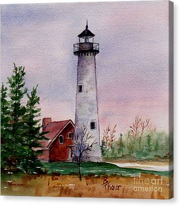 Tawas Point Light Canvas Print by Brenda Thour