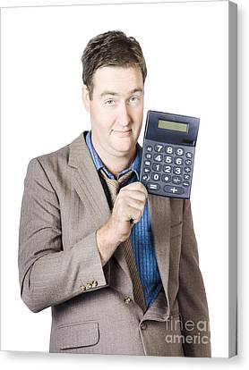 Tax Return Time. Accountant Man Holding Calculator Canvas Print by Jorgo Photography - Wall Art Gallery