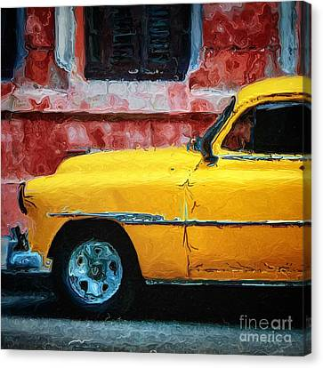 Taxi Against Red Wall Canvas Print by Amy Cicconi