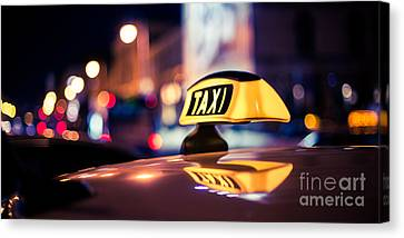Taxi - Blue Canvas Print by Hannes Cmarits