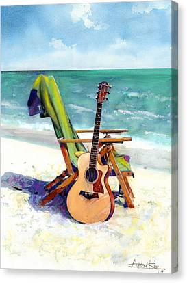 Taylor At The Beach Canvas Print by Andrew King