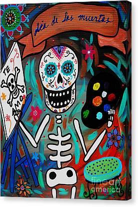 Te Amo Painter Dia De Los Muertos Canvas Print by Pristine Cartera Turkus
