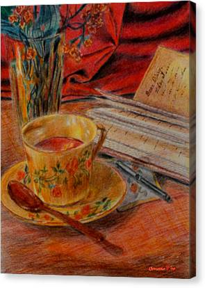 Tea And Diary Canvas Print by Quwatha Valentine