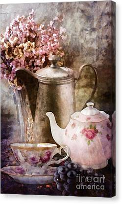 Canvas Print featuring the painting Tea And Grapes by Mo T