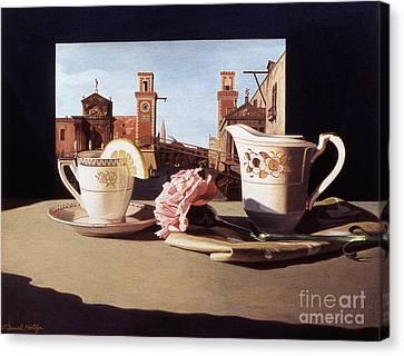 Tea And Venetian Landscape Canvas Print by Daniel Montoya