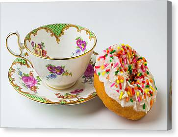Tea Cup And Donut Canvas Print by Garry Gay