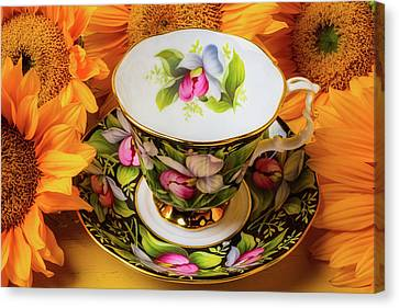 Tea Cup And Sunflowers Canvas Print