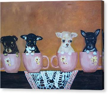 Tea Cup Chihuahuas Canvas Print