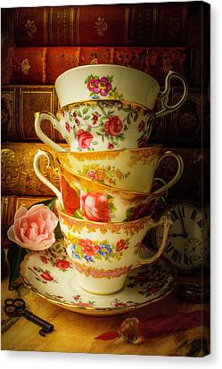 Tea Cups And Antique Books Canvas Print