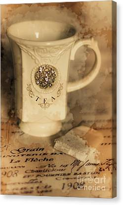 Tea Cups And Vintage Stains Canvas Print