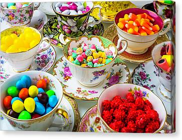 Tea Cups Full Of Candy Canvas Print by Garry Gay