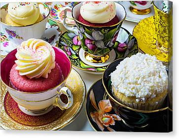 Tea Cups Full Of Cupcakes Canvas Print by Garry Gay
