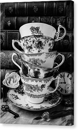 Tea Cups In Black And White Canvas Print