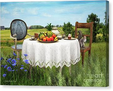 Canvas Print featuring the digital art Tea For Two by Jutta Maria Pusl