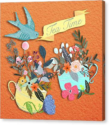 Tea For Two Canvas Print by Little Bunny Sunshine