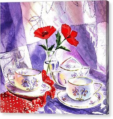 Tea For Two Vintage Style Canvas Print by Irina Sztukowski