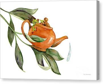 Tea Frog Canvas Print by Amy Kirkpatrick