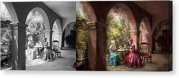 Tea Party - Sharing Tea With Grandma 1936 - Side By Side Canvas Print by Mike Savad