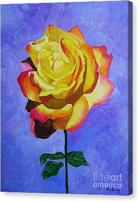 Canvas Print featuring the painting Tea Rose by Rodney Campbell